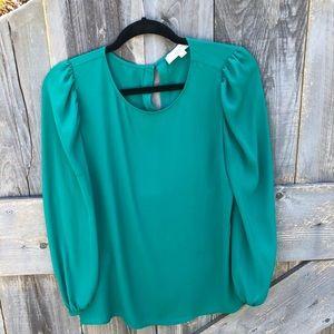 LOFT Vibrant spearmint long sleeve blouse M